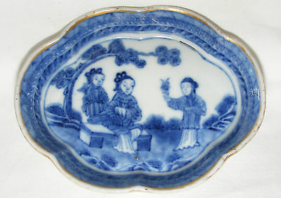 ANTIQUE 18th/19thC CHINESE BLUE AND WHITE HAND PAINTED PIN TRAY / PICKLE DISH