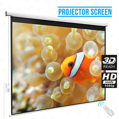 120'' 4:3 Electric Projector Projection Screen Remote Control Home Cinema