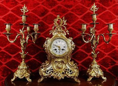 Antique 19th c French A.D.Mougin gilt bronze Roccoco mantle clock garniture set