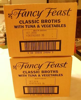 2 CASES 64 PACKETS FANCY FEAST CLASSIC BROTHS WITH TUNA and VEGETABLES