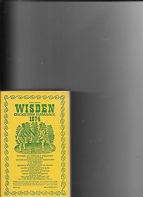 Wisden Cricketers Almanack 1974  Softcover Very Good Condition