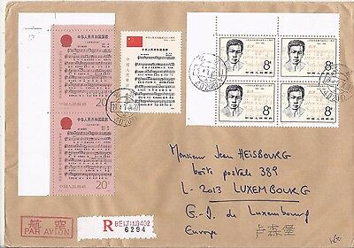 China PRC 1984 registered airmail cover to Luxembourg