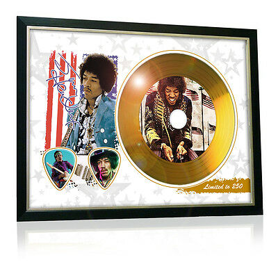 Jimi Hendrix Flag Style Signed Gold Disc Display