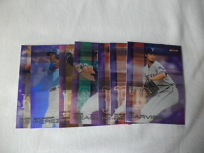 Topps Finest 2016 Baseball Trading Cards Lot Of 8 Purple Refractor Cards #250