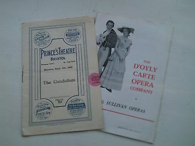2 D'Oyly Carte Opera Co. programmes, Bristol, 1932 and 1960's (?)
