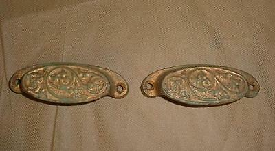 LOT OF 2 Antique VINTAGE Cast Iron 1873 ORNATE GRAIN BIN DRAWER PULLS EASTLAKE