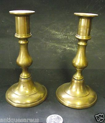 "Antique  Brass 6"" Push Up Candlesticks Candle Holder Made In  England"