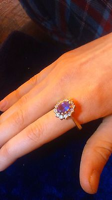 9ct gold,purple cluster ring with diamonds