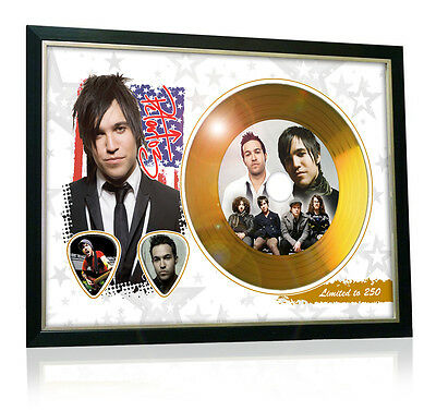 Pete Wentz Fall Out Boy Flag Style Signed Gold Disc Display
