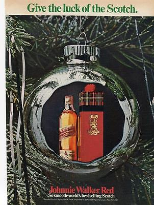1960's JOHNNIE WALKER RED MAGAZINE PRINT AD GIVE THE LUCK OF THE SCOTCH