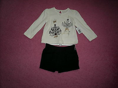 "Girls ""Matalan"" Cream /Gold Top - Black Lace Shorts Outfit Age 2-3 years BNWT"