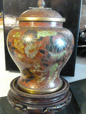 Fine Cloisonne Jar On Carved Wood Stand - 8 1/2 Inches Tall (With Lid)