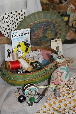Antique Hand Woven Bamboo, painted Chinese Basket filled with Old Sewing Notions