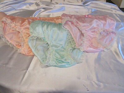 3 Prs Vtg Sissy Nylon Panties Knickers Cream Lace Satin Bows Pink/peach/mint
