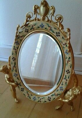 A Late 19Th Century French Gilt Bronze Champleve  Enamel Table Dressing Mirror