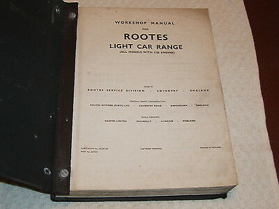 Rootes Hillman Plus All Models With 1725 Cc Engine Workshop Manual