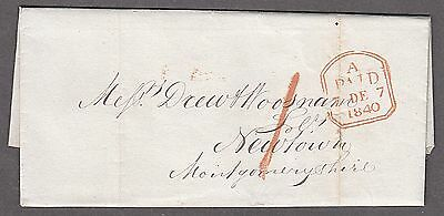Great Britain QV 1840 7th Dec. Entire Cover Post Paid to Newtown