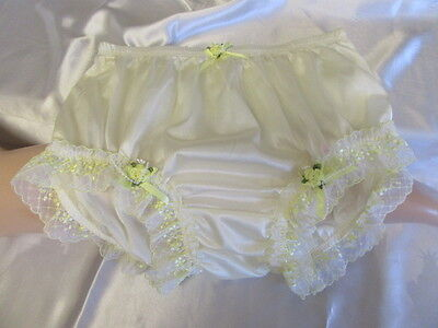 Vtg Sissy Nylon Panties Knickers Ivory & Lemon Lace With Rose And Satin Bows