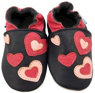 MiniFeet Soft Leather Baby Girls Shoes, Navy Blue Red Little Hearts 0-6 Months