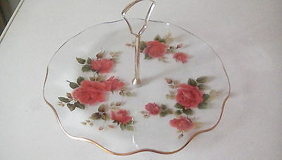 Retro Chance Glass Cake Plate, Rose Design With Metal Handle