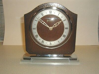 1940s CHROME AND WOOD MANTLE CLOCK 8 DAY WIND UP WORKING