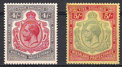 Nyasaland KGV 4/- & 5/- MH The 5/- is Damaged in left corner, good space filler