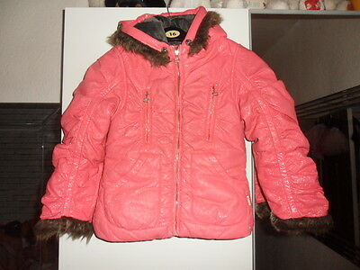 girls carbone designer pink warm hooded jacket size 128 (approx 7 yrs) see below