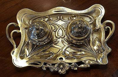 Antique Art Nouveau Brass Inkwell Stand Tray Duke of Devonshire England 1903