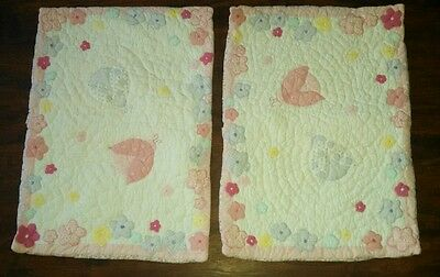 2 Pottery Barn Kids Quilted Standard Shams - Ladybugs