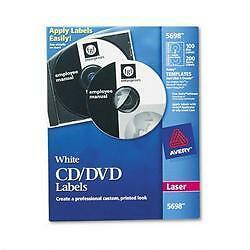 Avery Laser CD Labels Matte White 100/Pack 5698 NEW Ships Free
