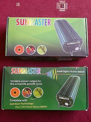 2 Sunmaster 600W Digital Dimmable Ballast -  HPS MH - Hydroponics Grow Hydro