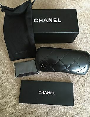 100% Brand New GENUINE Chanel Black Quilted Glasses Frames Case & Box