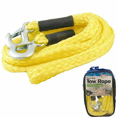 3 Ton Tonne Heavy Duty Vehicle Tow Rope Car Van Towing Strap Garage 3.5m SWTR30