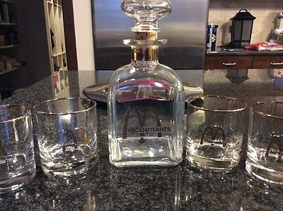Decanter Set RARE MCDONALD'S new, never used. Gold rimmed with gold writing