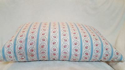 Vintage Blue & Grey Stripe W/pink Roses Ticking Feather Pillow