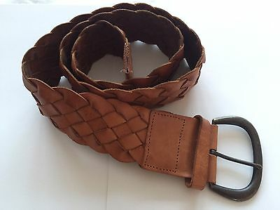 Ladies Womens Tan Real Leather Gap Twisted Belt Hardly Worn VGC