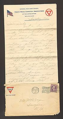 1917 World War I WWI Letter with Envelope Soldier wrting home YMCA War Council