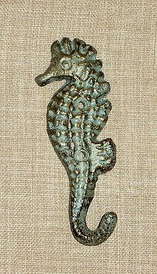 NEW~Cast Iron Seahorse Wall Hook Nautical Coastal Blue/Gold Finish