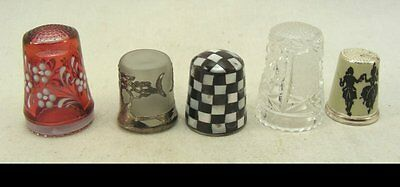 5 Wonderful Thimbles - 3 Crystal or Glass and 2 Metal of which one 925 Silver