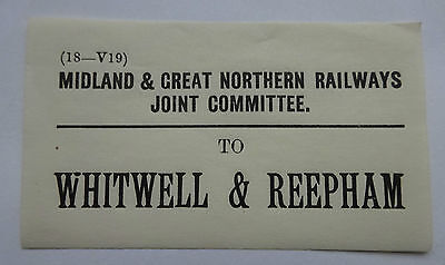 Midland & Great Northern Railways Joint Luggage Label To Whitwell & Reepham