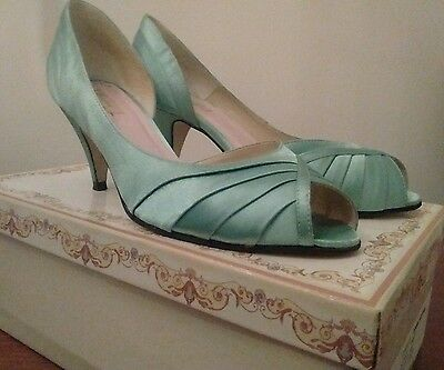 MONSOON MINT SATIN PEEP TOE BRIDESMAIDS EVENING SHOES SIZE 5 WORN ONCE With Box