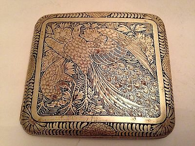 Antique Japanese Fine Brass Chased Cigarette Case