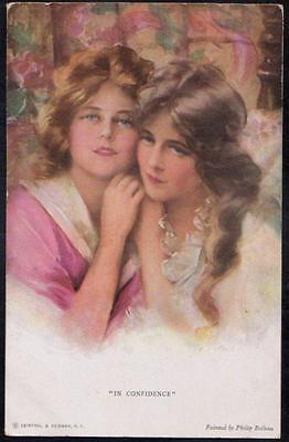 "Vintage Postcard "" In Confidence ""  Beautiful Women  - Philip Boileau No. 760"