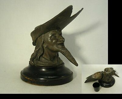 Antique Spelter Ink-Well with Head or Bust of Robin Hood