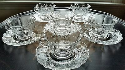 Six (6) Vintage Fostoria Chintz Crystal Cup&Saucer Sets Baroque Design Exc.