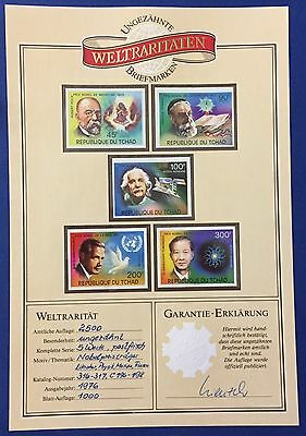 Rep. Du Tchad 1976 Prix Nobel Phis. Series Of 5 Imperforated Mnh**with Garantie