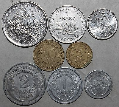 Mixed Lot of 8 French Coins - France 1941-1978 - 5 1 1/2 Francs 50 10 5 Centimes