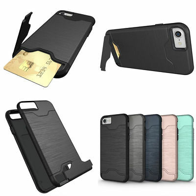 Shockproof Hybrid Holder Card Wallet Back Phone Case Cover For Samsung iPhone