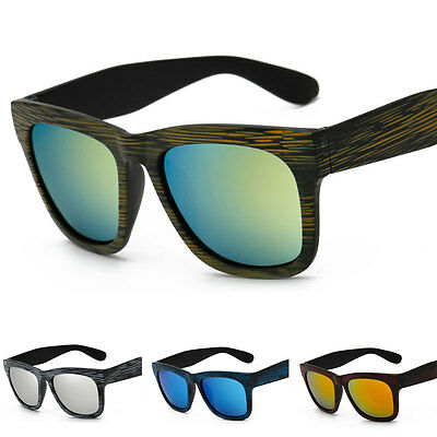Mens Women Retro Vintage Bamboo Wood Print Sunglasses Mirror Eyewear Eye Glasses