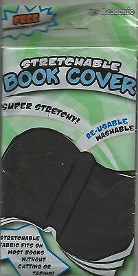 """Black 8"""" x 10"""" Stretchable Washable Re-Usable Fabric School Book Cover"""